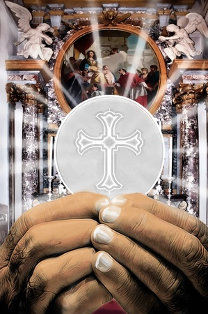 hands holding Holy host at Communion  in a Cathedral Stock Photo - 9643394