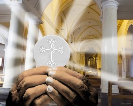 Priest: hands holding Eucharist in a church interior