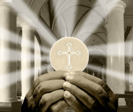 catholic mass: hands holding Eucharist in a church interior