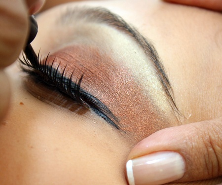 close up of an eye having fashion make-up  photo