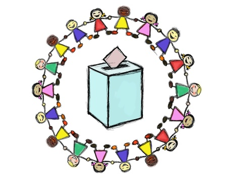 voting hands: ballot box with a Smiling Multiracial Children Circle