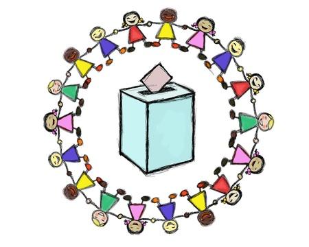 democracia: urnas con un c�rculo los ni�os multirraciales sonriendo