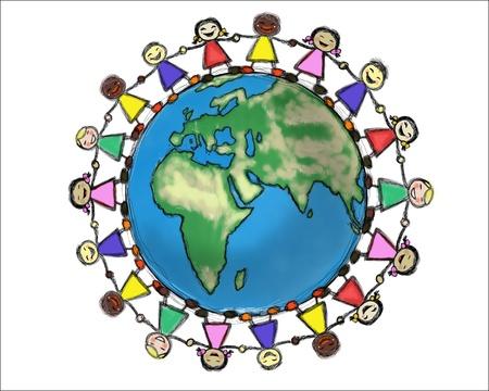 girotondo bambini: Bambini multirazziali sorridenti, tenendosi per mano in un cerchio Archivio Fotografico
