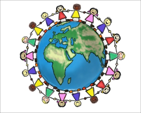 multiethnic: Smiling Multiracial Children Holding Hands in a Circle