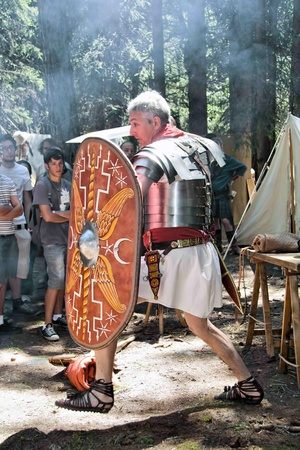 VAL VENY, ITALY - JULY 2:  Sagitta Barbarica an ancient Roman soldier at Celtica