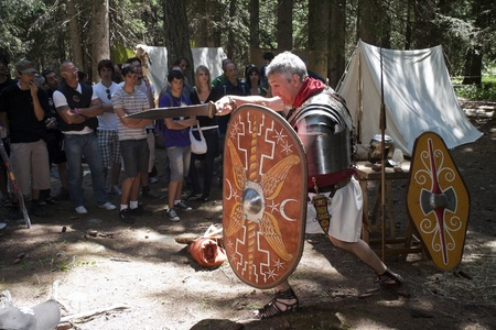 VAL VENY, ITALY - JULY 2: member of the Saggitta Barbarica fights as ancient roman soldier  at