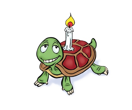 Turtle with Birthday candle, postcard cartoon illustration Stock Illustration - 9987905
