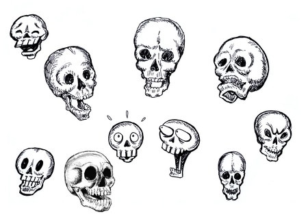 Sketchy collection of skull illustration in different position