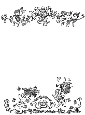 Announcement pattern with little angels, decorative illustration