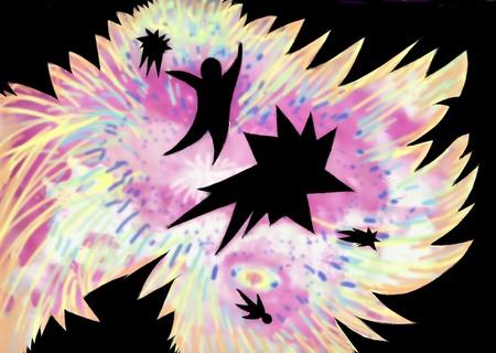 the big bang: big bang illustration, explosion with human Silhouette