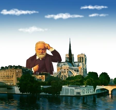 hugo: Victor Hugo portrait with Notre-Dame , Paris, France