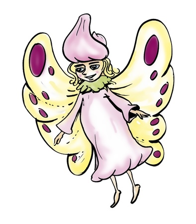 fairy godmother: fantasy illustration of a fairy godmother with butterfly wings