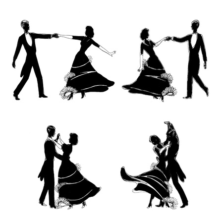beauty contest: silhouettes of people dancing in a classical way Stock Photo