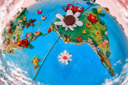 South America Globe, with the flowers, made in plasticine Stok Fotoğraf