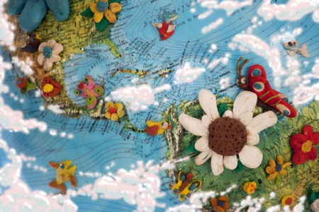 Part of the world map with America and Caribbean Sea, plasticine artwork
