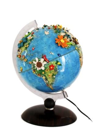 close up of globe on white background photo