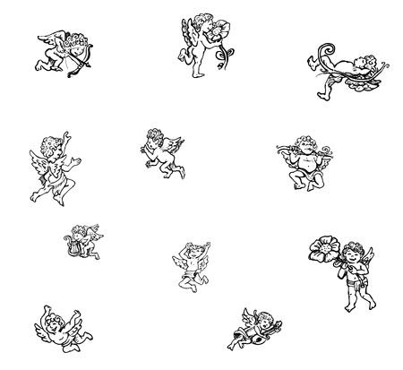 little angels set, line art  illustration isolated over white illustration