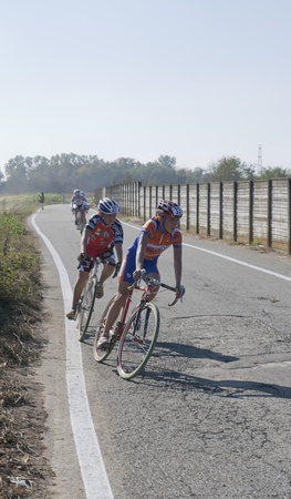 supercross: Cyclists compete in the Supercross Vaver ciclocross race on october 16, 2011 in Vaprio dAgogna, Italy