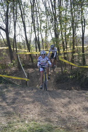 Cyclists compete in the Supercross Vaver ciclocross race on october 16, 2011 in Vaprio dAgogna, Italy
