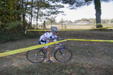 Female Cyclist competes in the Supercross Vaver ciclocross race on october 16, 2011 in Vaprio dAgogna, Italy