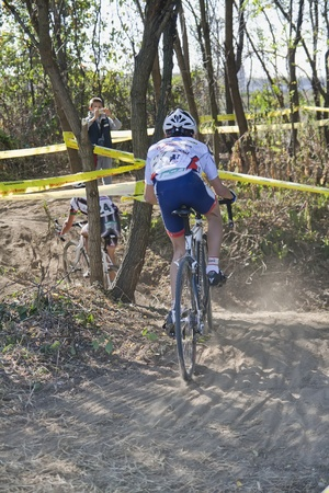 supercross: Cyclist competes in the Supercross Vaver ciclocross race on october 16, 2011 in Vaprio dAgogna, Italy