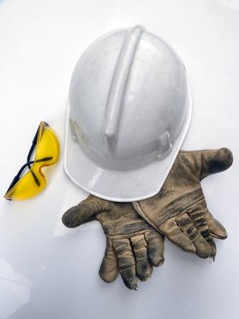 white hard hat helmet, gloves and glasses
