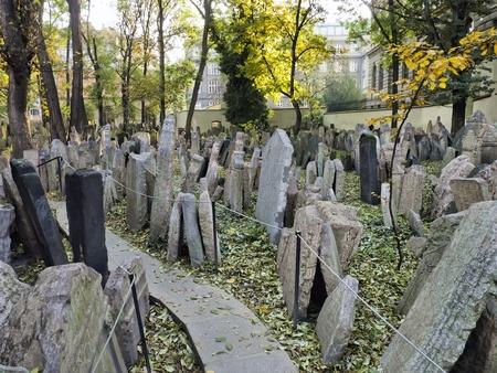 Headstones in the Jewish cemetery, Prague, Czech republic
