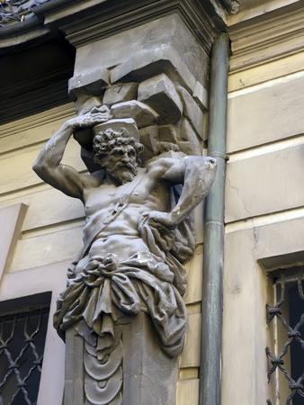 praga: building detail , baroque statue in Praga Stock Photo