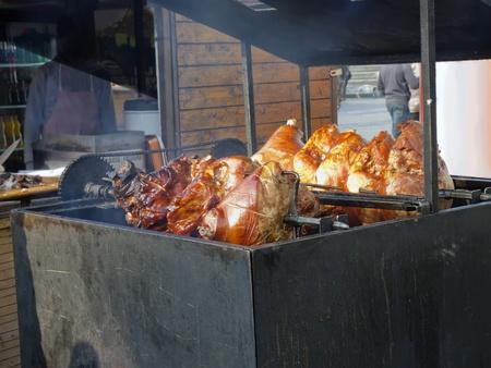 Roast pork legs on the grill. Prague Ham. Stock Photo - 11252668