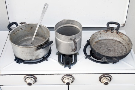 vintage cooker with old pots Stock Photo - 11252666