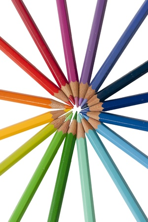 color pencils radial composition isolated over white photo
