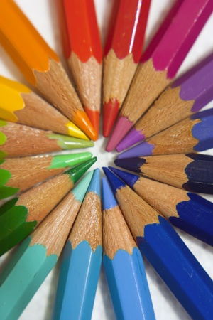 color pencils radial composition extreme close up photo