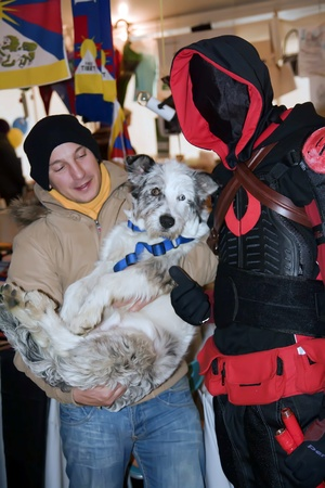 NOVARA, ITALY - DECEMBER 18: Hero in costume meets his fan  at  Be A Superhero Contest