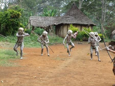 PAPUA, NEW GUINEA - SEPTEMBER 16: Mudman warriors at Goroka Tribal Festival. Papua New Guinea on September 16, 2011