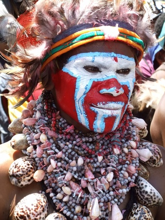 PAPUA, NEW GUINEA - SEPTEMBER 16: Papua warrior at Goroka Tribal Festival. Papua New Guinea on September 16, 2011 Editorial