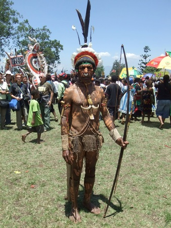 PAPUA, NEW GUINEA - SEPTEMBER 16: Papua warrior at Goroka Tribal Festival. Papua New Guinea on September 16, 2011 Editorial