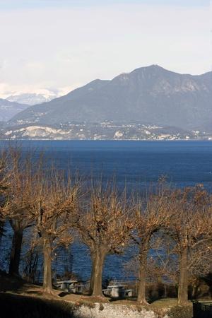 arona: View of the lake lago Maggiore from Arona, Italy Stock Photo