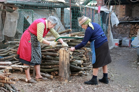serrucho: dos mujeres de mayor edad de corte de madera con sierra de mano