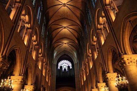 notre: Interior of the Gothic Church of Notre Dame, Paris, France Editorial