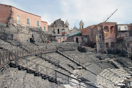 Roman theater ruins in Catania, Italy