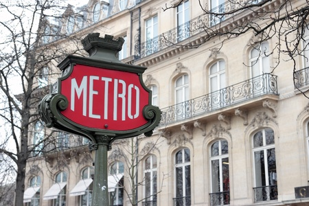 Retro Metro sign in Paris, France