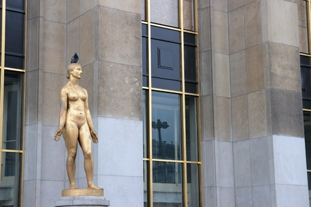 naked statue: female naked statue that adorn the Trocadero in Paris  France