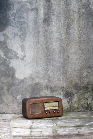 Vintage AM radio tuner in a shabby interior