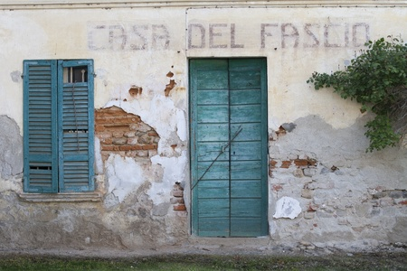 fascist: old abandoned fascist  building  in Alzate di Momo, Italy
