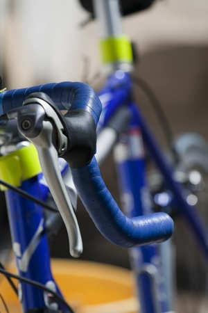 racing bicycle handlebar with an out of focus background  photo