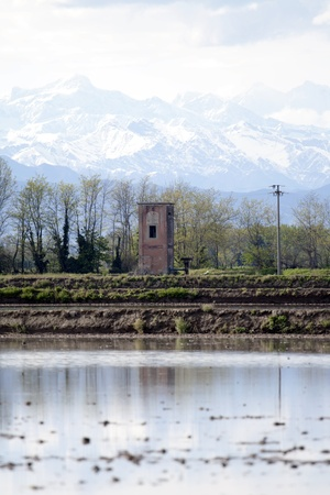 old pumping water station next to rice crops in Piedmont, Italy photo