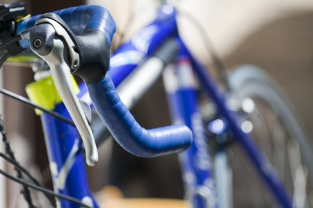 racing bicycle handlebar with an out of focus background