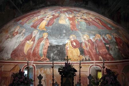 curch: Old ancient  XV fresco in  Santa Maria Curch, Linduno, Italy