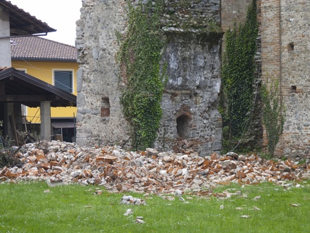 Damaged ancient X century building Pieve di Suno, Italy Stock Photo - 13406033