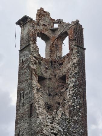 Damaged ancient X century building Pieve di Suno, Italy Stock Photo - 13406026